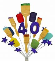 Painter and decorator 40th birthday cake topper decoration (purple) - free postage